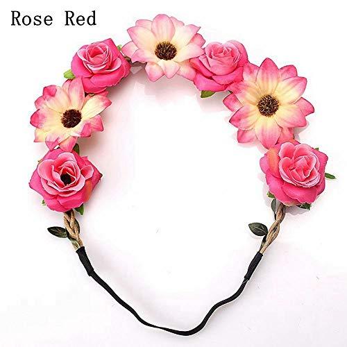 MOPOLIS Garland Sun Flower Headwear Hair Accessories Crown Headband Rose Hairband | color - Rose red