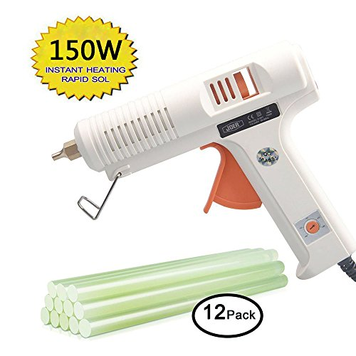 Hot glue gun professional adjustable temperature hot glue gun 150 w 12 glue stick - interchangeable nozzles suitable for home repair computer electronic maintenance and crafts DIY project by Joer