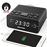 "digital alarm clock usb - USB Alarm Clock Radio, Digital Alarm Clock with USB Charger, FM Radio, Sleep Timer, Dimmer, Snooze, 0.6"" Digital LED Display and Battery Backup Function for Bedroom, Office, Table and Desk"