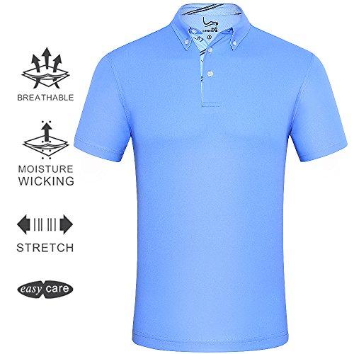 EAGEGOF Men's Shirts Sky Blue Short Sleeve Tech Performance Golf Polo Shirt Loose Fit Large