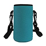 Small Water Bottle Sleeve Neoprene Bottle Cover,Geometric,Diagonal Striped Pattern Mediterranean Cruise Colors Ocean Travel Adventure,Light Blue Teal,Great for Stainless Steel and Plastic/Glass Bottle