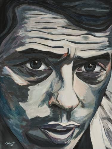 Poster 30 x 40 cm: Ne me Quitte Pas Reproduction Haut de Gamme Jacques BREL Portrait de Christel Roelandt Nouveau Poster