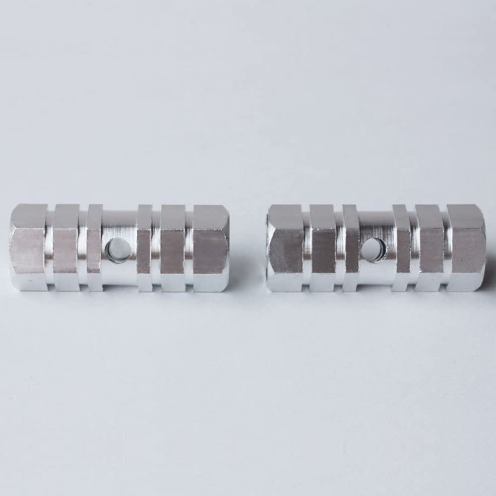 QQ Studio 2X Hexagonal Cross-Section Silver Metal Alloy Kid-Sized Foot Pegs Fits Many Regular BMX Trick Mountain Bicycles 2.72in Long, 0.35in Diameter Hole, 1.14in Wide