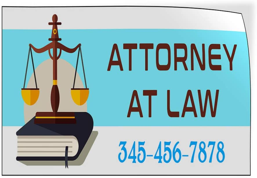 Custom Door Decals Vinyl Stickers Multiple Sizes Attorney at Law Phone Number Scale Business Attorney at Law Outdoor Luggage /& Bumper Stickers for Cars Blue 34X22Inches Set of 10