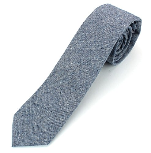 (Men's Chambray Cotton Skinny Necktie Tie Textured Distressed Style - 10 - Navy)