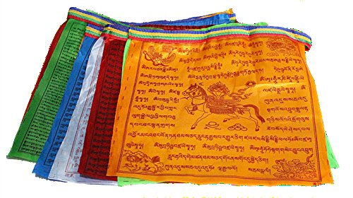 Buddhist Prayer Flags - Maha Bodhi Large Buddhist Satin Wind Horse Lungta Prayer Flags 10 X 11 Inches - Pack of 20