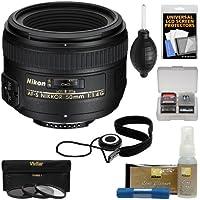 Nikon 50mm f/1.4G AF-S Nikkor Lens with 3 UV/CPL/ND8 Filters + Kit for D3200, D3300, D5300, D5500, D7100, D7200, D750, D810 Cameras