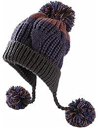 Women Winter Thick Beanie Hat Ski Ear Flaps Caps Dual Layered