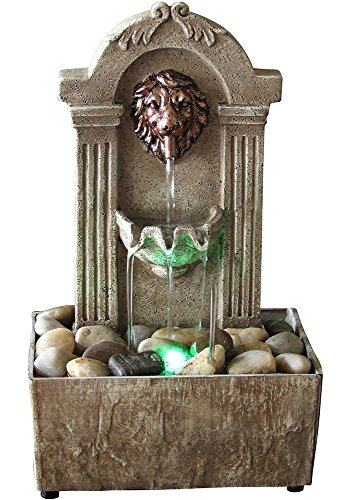 Newport coast collection Lion Head Color Changing LED Tabletop Water Fountain with Adapter ()