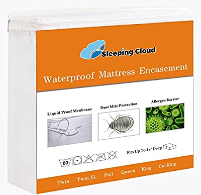 Premium Zippered Waterproof Mattress Encasement Hypoallergenic Breathable Mattress Protector Cover, Bedbugs / Dust Mites / Fluids Proof - 15-Year Warranty, Vinyl Free - Queen Size / White