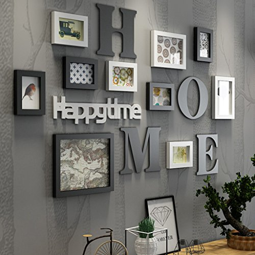 frame 9 box Photo frame collage solid wood combination living room photo frame wall creative restaurant background wall decoration photo wall collage ( Color : Black and White ) - 126 Elegant Wall