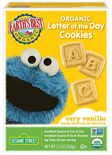Earth's Best Organic Cookies, Toddler Snacks, Very Vanilla, Sesame Street Letter of the Day, 5.3 Ounce (Pack of 6) by Earth's Best