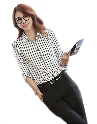 何か求人美容師Foxseon レディース 女性 オフィス シンプル ストライプ ワイシャツ 長袖 シフォン 白Yシャツ
