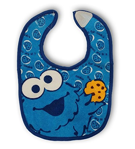 Sesame Street Cookie Monster Plaid Terry Bib for Baby Toddler 0+ Months