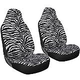 zebra car accessories interior - Oxgord 2pc Integrated Zebra Bucket Seat Covers, Universal Fit for Car/Truck/Van/SUV, Gray