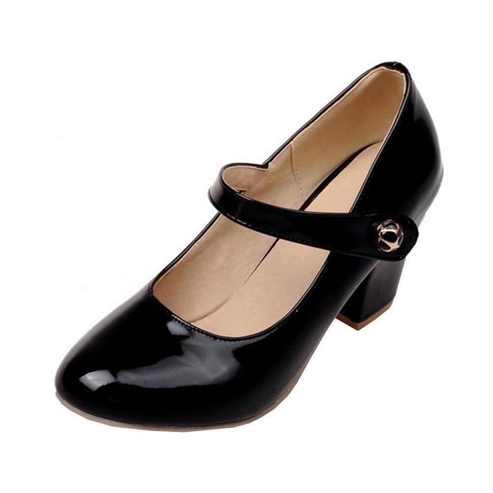 YE Damen Ankle Strap Lack Pumps Blockabsatz High Heels mit Riemchen Elegant Schuhe  36 EU Schwarz