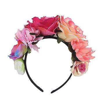 lindo baratas detalles para fecha de lanzamiento: Navigatee Flor corona diadema - Rosa flor corona tocado mexicano, traje de  diadema muerto, corona artificial para niñas