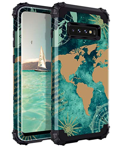 Lontect for Galaxy S10 Case Floral 3 in 1 Heavy Duty Hybrid Sturdy Armor High Impact Shockproof Protective Cover Case for Samsung Galaxy S10, Aqua Green/World Map