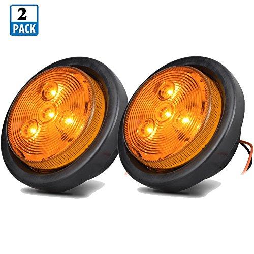 NEW SUN 2.5 Round LED Marker Lights RV Boat Trailer Lights Sealed Lens Amber LED Clearance 4 Diodes 12V 2Pack