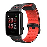 Weloop Hey 3S Sport Bluetooth Smart Watch with Silicone Strap Touch Screen Heart Rate GPS Tracker Pedometer Run Swimming Sleep Monitor Fitness Outdoor Sport Waterproof Smartwatch for Android IOS (Red)