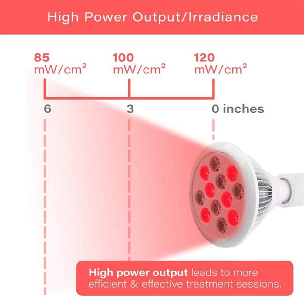 Red LED 660 nm tiefrot und 850 nm Nahinfrarot-Kombinationslicht zur Haut Wosiky Rotlicht-Therapiebirne und Schmerzlinderung 12W 24W