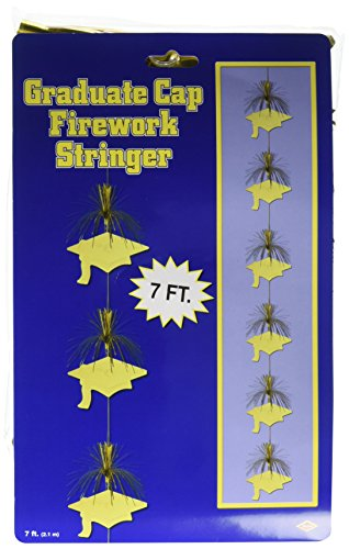7' Grad Cap - Beistle Graduate Cap Firework Stringer, 7-Feet, Gold