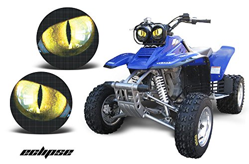 (AMR Racing ATV Headlight Eye Graphic Decal Cover for Yamaha Warrior 350 All Years - Eclipse Yellow)