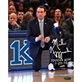 1000 wins coach k - NCAA Duke Blue Devils Unisex Mike Krzyzewski Signed 1000 Win Photo with 1000th Win and Date Insc, 8 by 10-Inch