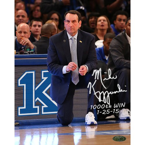 NCAA Duke Blue Devils Unisex Mike Krzyzewski Signed 1000 Win Photo with 1000th Win and Date Insc, 8 by 10-Inch by Steiner Sports