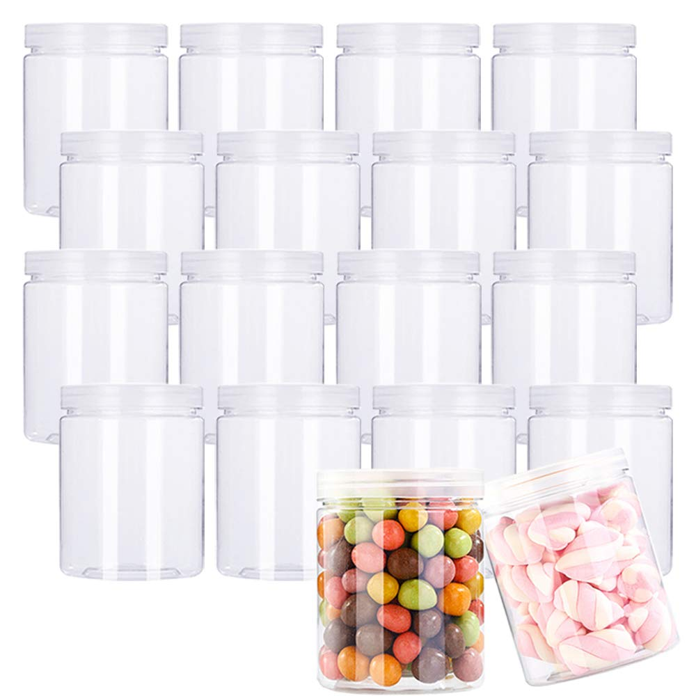 18 Pack 7.1oz/210ml Refillable Empty Slime Containers with Lids Round Clear Jars,Wide-Mouth Plastic Slime Storage Favor Jars for Crafts,Dry Food,Peanut Butter,Honey and Jam Storage