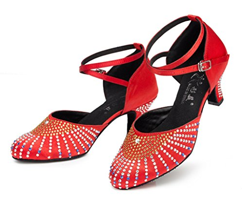 Womens Latin Morden Glitter CRC Shoes Toe Salsa Stylish Wedding Professional Red Round Dance Tango Satin Ballroom Party Rhinestones d88gvwWq