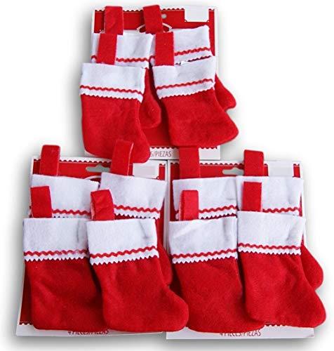 Miniature Red Felt Christmas Stocking Bundle - Set of 12 -