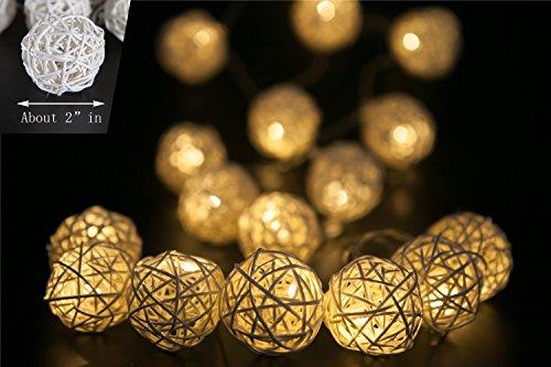 Yoland 2m/6.56ft 20LED Wooden Rattan Ball Battery Powered String Lights, for Christmas, Wedding ...