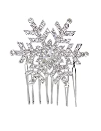 Ever Faith Snowflake Hair Comb Clear Austrian Crystal