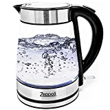 Zeppoli Electric Kettle (BPA Free) - Fast Boiling Glass Tea Kettle (1.7L) Cordless
