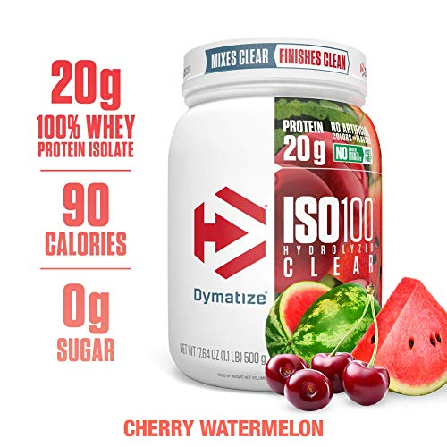 Dymatize ISO100 Hydrolyzed Clear Protein Powder, 100% Whey Protein Isolate Powder, 20g of Protein & 4g BCAAs, Gluten Free, Keto Friendly, Easy Mixing, Light & Refreshing, Cherry Watermelon, 1.1 lbs (Dymatize Protein Isolate Whey)