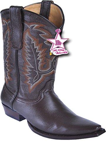 Western Deer Ladies Boots Genuine Snip Leather Skin Brown Toe TxIYCgq