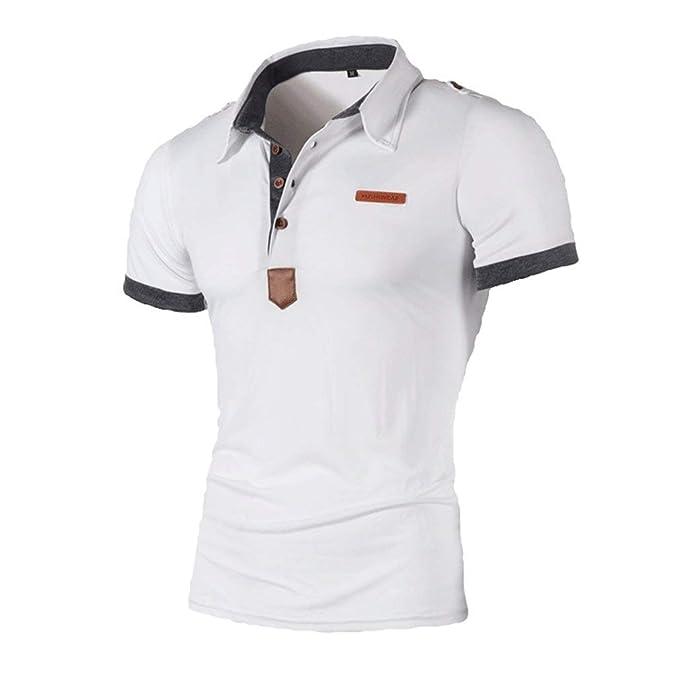 Lanceyy Camisas De Polo Hombres Solapa Tops Cuello De Simple ...