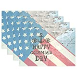 Top Carpenter 4pcs America Columbus Day Placemat - 12x18in - Washable Heat Crease Resistant Printed Place Mat for Kitchen Dinner Table by