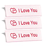 Wunderlabel I Love You Crafting Craft Art Fashion Woven Ribbon Ribbons Tag for Clothing Sewing Sew on Clothes Garment Fabric Material Embroidered Label Labels Tags, White on Red, 25 Labels
