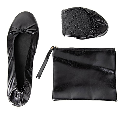Foldable Ballet Flats - Women's Portable Ballerina Roll up Shoes with Pouch, Black, L