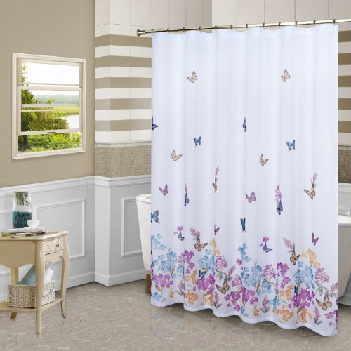 United Curtain Butterfly Shower Curtain, 70 by 72-Inch, Mult
