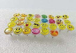 Retro Smiley Face Emoticon Push Pins Plastic Head Thumb Tacks Drawing Pin 50 Pcs for School Home Office