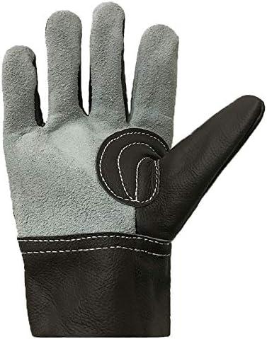 ガーデニング用手袋 牛革ショート電気溶接保護取り扱いガーデニングスタブ耐性手袋安全手袋 園芸 採掘 植栽 枝切り 防護手袋