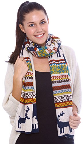 Simplicity Women's Knitted Wraparound Scarf, Deer Pattern,Dark Blue/Beige,Yellow