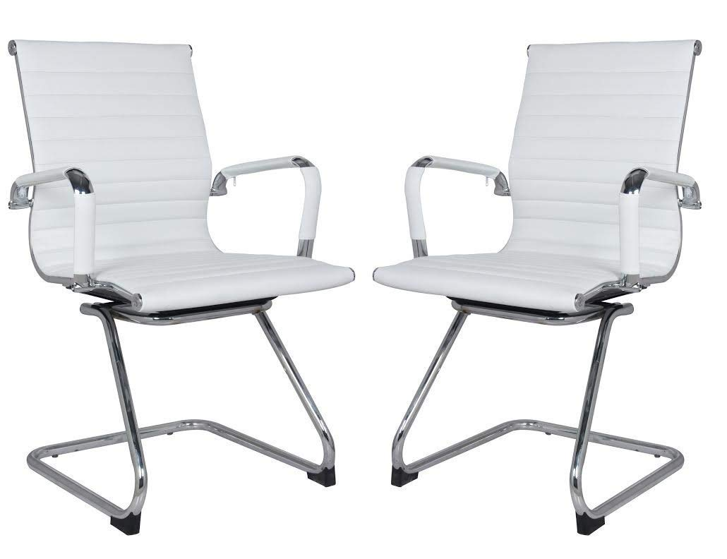Classic Replica Visitors Chair in White PU Leather. Chrome arms with Protective arm Sleeves with Zip Available. Suitable for Office and Home | Set of 2 Chairs