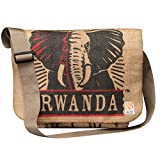 Eco-Friendly, Upcycled Coffee Bean Burlap Crossbody/Messenger Bag With Web Strap (Rwanda)