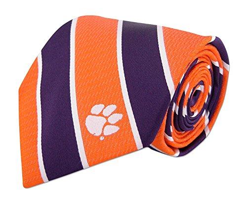 NCAA Clemson Tigers Mens Woven Silk Repp Stripe Collegiate Logo Tie 1, Orange and Purple, One Size ()