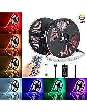 Elfeland LED Streifen 10M RGB LED Strip 300 LEDs 5050SMD LED Band Lichterkette Bänder Hintergrundbeleuchtung mit 44 Tasten Fernbedienung IP65 Selbstklebend Innen außen Beleuchtung Full Kit