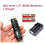 Coco CREE XML-T6 Led 1000 Lumens 3 Modes Mini Pocket Flashlight Torch Set (with 2* 18650 Batteries and Charger)